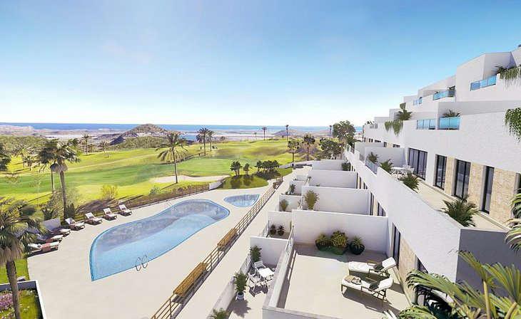 Apartments in 1st line of golf course and sea views in Pulpí, Almería